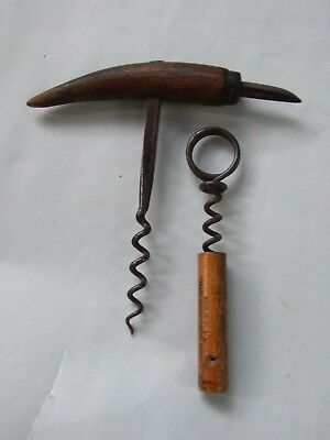 Two Vintage Oak Corkscrews w Spike  & Other USA Made with Print Advertising 20's
