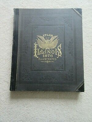1876 Illustrated Atlas of Illinois, handcolored maps, homes, businesses, history