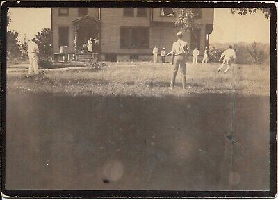 Rare Circa 1880s Large Antique Photo of a 19th-Century Baseball Game in Action