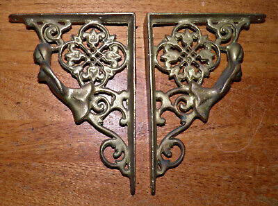 "Vintage Antique Woman Mermaid Brass Bronze WALL SHELF CORBEL BRACKET 4.5x 6.4""Sz"
