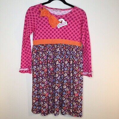NWT Jelly The Pug Girls Dress Floral with bow Size 14