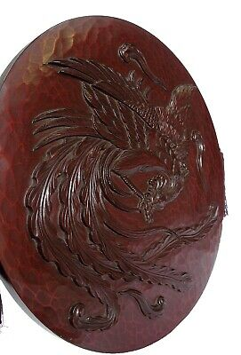 Vintage Japanese Lacquer Kamakura Bori Carving Wall Hanging Decoration Phoenix