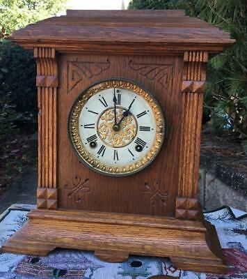 Ansonia Cabinet Clock 8 Day Time & Strike Running Well