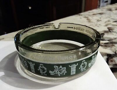 Caesars Palace Ashtray Hotel Casino Round Glass Green Trim Vintage