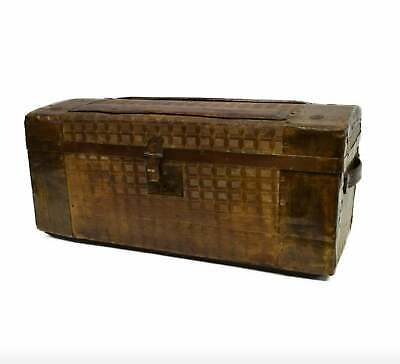 19/20th c. Small American Travel Trunk Train Luggage embossed tin tabletop chest