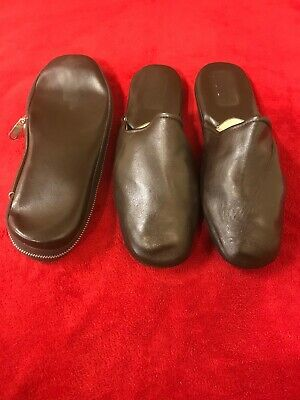 Men's Brown Leather Travel Scuff Slipper Shoes with Bag Size US 11 (45)