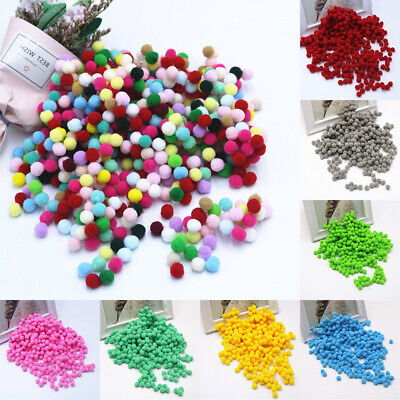 2000Pcs 8mm Mixed Color Mini Soft Fluffy Pom Poms Pompoms Ball For Kids DIY Toys