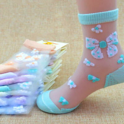 6pairs Children Kids Crystal Socks Ultra-thin Breathable Butterfly Baby Socks gf