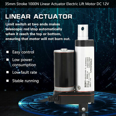 1000N 35mm Stroke Heavy Duty Linear Actuator Electric Lift Motor DC 12V 6mm/s