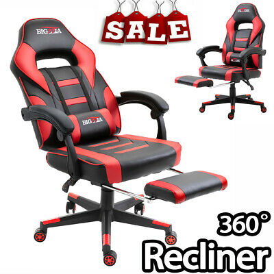 Executive Racing Gaming Chair Office Computer Desk Leather Swivel Chair+Footrest