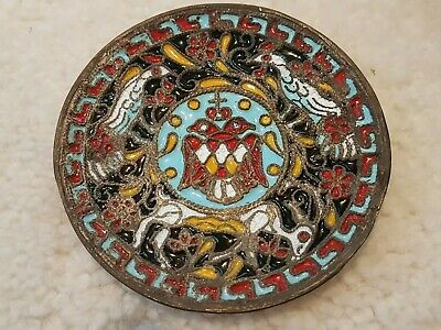 Antique Russian Cloisonne Brass Dish Plate Hand Painted Enamel two headed Eagle