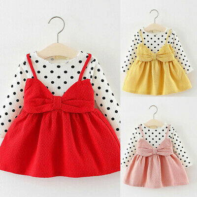 Kids Infant Baby Girls Long Sleeve Dot Bowknot Princess Dress Clothes Outfits UK