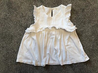 Next Girls White Smock Style Frilly Top 100% Cotton Age: 8 Years