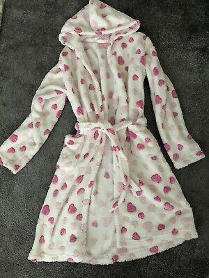 Girls Hearts Dressing Gown Bath Robe -Age 12-13