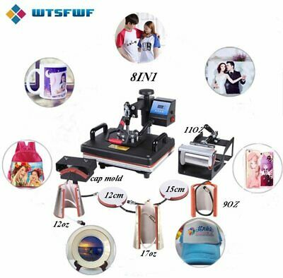 Freeshipping Wtsfwf 30*38CM 8 in 1 Combo Heat Press Machine 2D Thermal Transfer