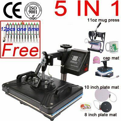 Double Display 30*38CM 5 in 1 Combo Thermal T-shirt Heat Press Machine Sublimati