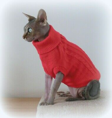 red  Christmas jumper for a cat, Sphynx cat clothes, HAirless cat clothing