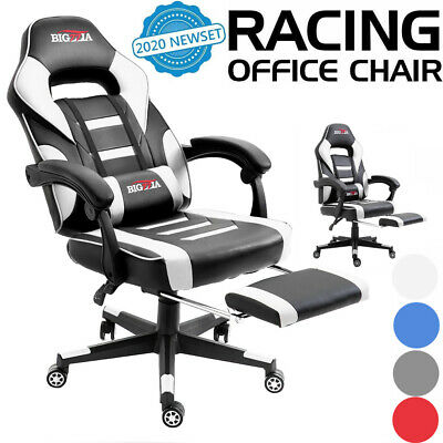 Executive Gaming Chair With Footrest Racing Office Computer Desk Leather Chair