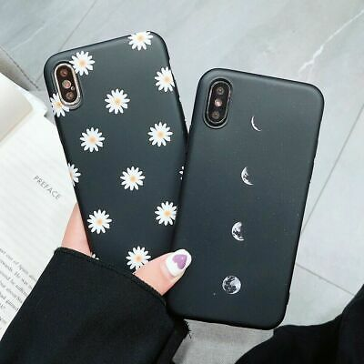 For iPhone XR 7 8 Plus XS Max Cute Moon Flower Ultra-Thin Soft TPU Case Cover
