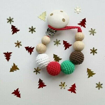 Xmas Wooden Teething Clip, Dummy Holder, Dummy Chain, Pacifier Clip,Soother Clip