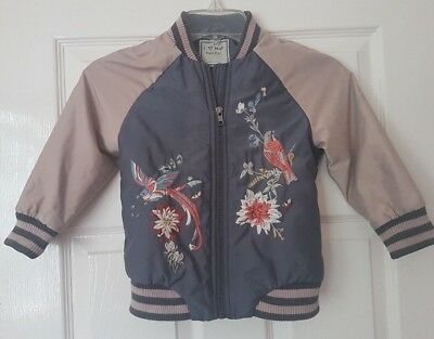 NEXT Boy Lightweight Grey Floral Embroided Harrington Bomber Jacket Age 4 Years
