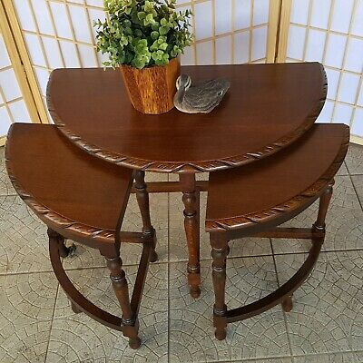 Silky Oak Nest of Tables, Jacobean Side, Occasional Tables,