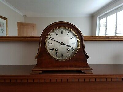 VINTAGE MAHOGANY MANTEL CLOCK (Smiths 1930s) - WORKING WITH KEY