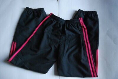 13/14 yr old Adidas sport, jogging pants, black with pink stripes