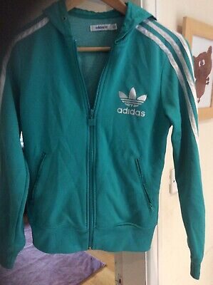 vtg 80s Or 90s adidas Green tracksuit sports top jacket terrace wear Ladies 10