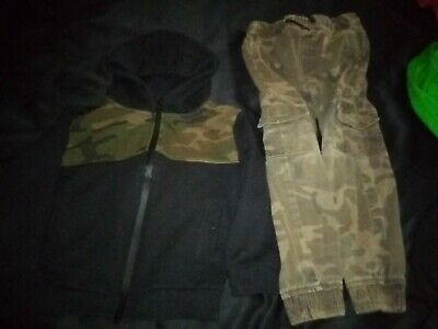 Boys camouflage bundle/outfit hooded jacket and cami combat trousers aged 4-6 yr