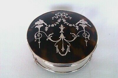 Rare & Beautiful Solid Silver & Faux Tortoise Shell Trinket Box Birmingham 1913