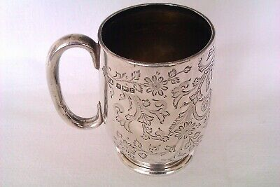 Beautifully Engraved Solid Silver Edwardian Christening Cup Henry Atkin 1909