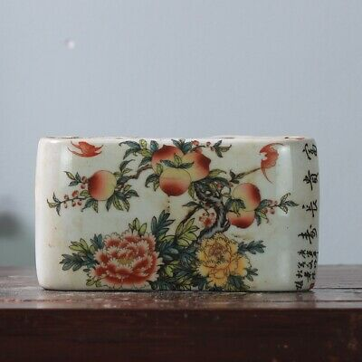 Fine china old famille-rose porcelain hand-made peach hand pillow /Yb01