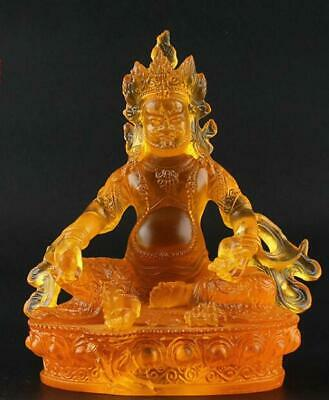 Chinese coloured glaze Sculpture Handwork Vajrayana god of wealth statue /Uc01