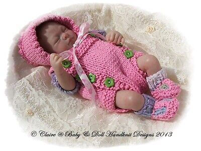 "BABYDOLL HANDKNIT DESIGNS KNITTING PATTERN B7 CHEVRON COAT SET 7-12/"" DOLL"