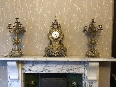 Gilt French Clock With Candleabres