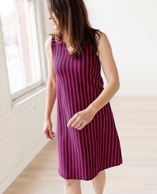 Love Hannah Soft Ribbed V-Neck Dress New With Tags Large Navy Red Striped