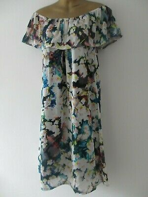 Soho womens off shoulder white floral summer dress one size fits 10-14