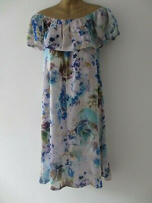Soho womens off shoulder white mix floral summer dress one size fits 10-14