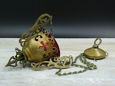 Lamp for Icon, Russian, Lampada Orthodox Antique old bronze and Red glas