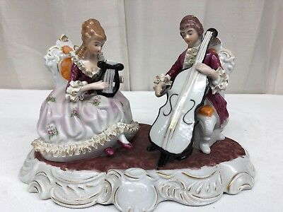 Dresden Musical Figural Lace Couple, Volkstedt, Germany (mgm26)