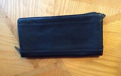 TUMI Black Leather Zip Around Travel Wallet