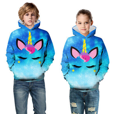 Childrens Kids Girls Boys Unisex Cute Chicken Unicorn Sweatshirt Hoodie