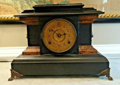 Antique Seth Thomas Mantel Clock Adamantine Lion Handles Brass Face Needs Repair