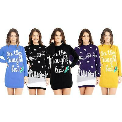 New Ladies Womens Christmas Xmas Novelty Knitted Tunic Retro Dress Jumper Party