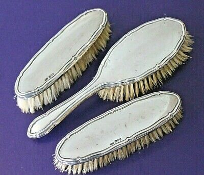 Vintage sterling silver hairbrush 3 piece dressing table set Chester 1916