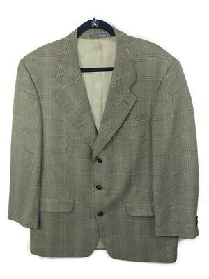 Yves Saint Laurent 100% Silk Glen Plaid Blazer Coat Jacket Mens See Measurements
