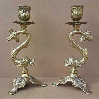 Paire de BOUGEOIRS LAITON POISSON exotique vintage pair of brass candle holders