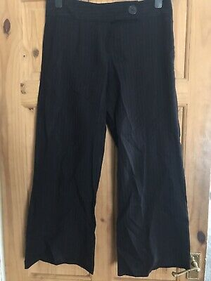 Ladies Girls Black And Red Pinstripe Trousers Sz 12 Bootcut Ex Cond Smart!