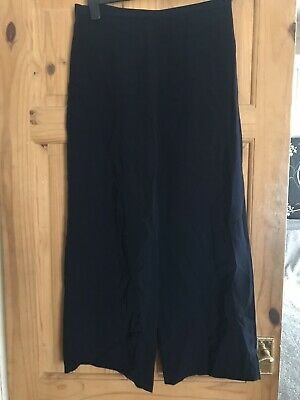 Ladies Girls Navy Slinky M&S Tailored Trousers Sz 12 Wide Leg Ex Cond Smart!